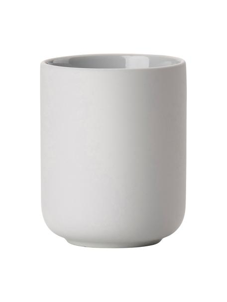 Porta spazzolini in gres Ume, Gres rivestito con superficie soft-touch (materiale sintetico), Grigio chiaro, Ø 8 x Alt. 10 cm