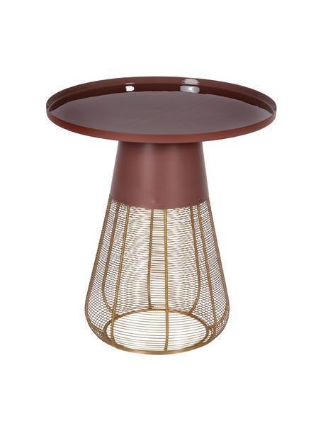 Stolik pomocniczy z metalu Eden, Metal powlekany, Odcienie mosiądzu, brązowy, Ø 45 x W 49 cm