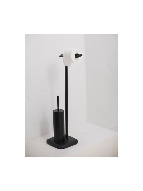 Portarrollos con escobilla de baño Deptford, Metal recubierto, Negro, An 23 x Al 73 cm