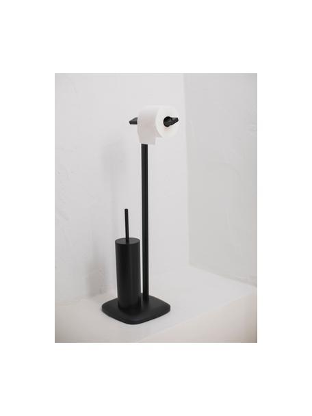 WC-papierhouder Deptford met toiletborstel, Gecoat metaal, Zwart, 23 x 73 cm