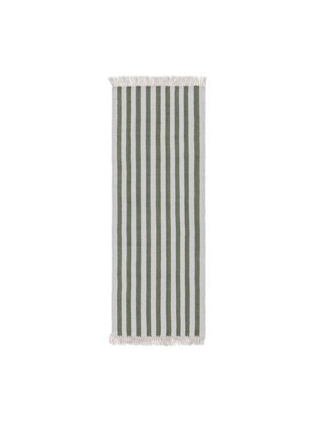 Chodnik z wełny Gitta, 90% wełna, 10% bawełna Włókna dywanów wełnianych mogą nieznacznie rozluźniać się w pierwszych tygodniach użytkowania, co ustępuje po pewnym czasie, Zielony, jasny szary, S 70 x D 200 cm