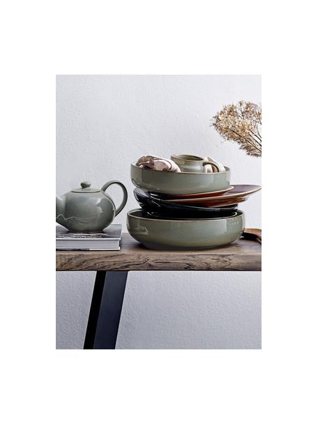 Serveerschaal Pixie van keramiek, Ø 28 cm, Keramiek, Groentinten, Ø 28 x H 7 cm