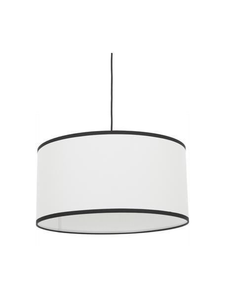 Hanglamp Claudette met linnen lampenkap, Lampenkap: linnen,gestructureerd, Baldakijn: gepoedercoat metaal, Crèmekleurig, zwart, Ø 50 x H 25 cm