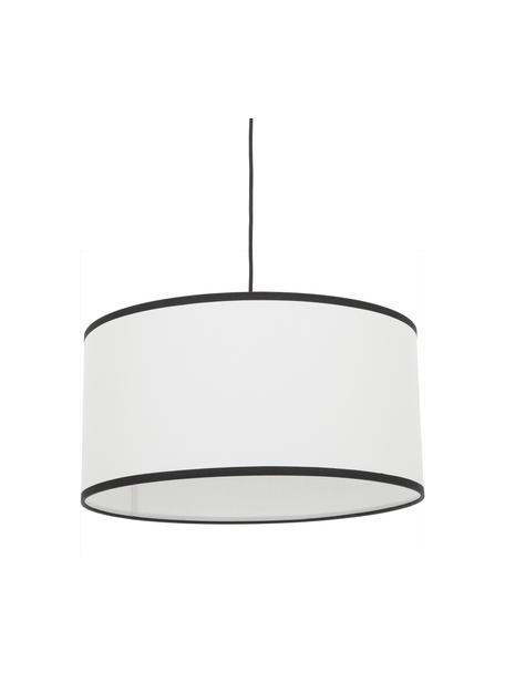 Lámpara de techo de lino Claudette, Pantalla: lino estructurado, Anclaje: metal con pintura en polv, Cable: plástico, Crema, negro, Ø 50 x Al 25 cm