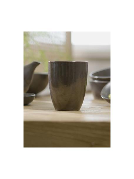 Tazas originales artesanales Esrum Night, 4uds., Gres, esmaltado, Marrón grisáceo, plateado mate con reflejos brillante, Ø 8 x Al 10 cm