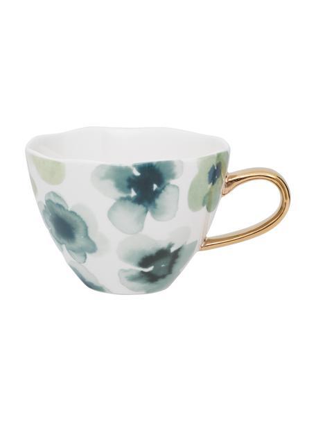 Beschilderde mok Good Morning met goudkleurig handvat, Beenderporselein, Wit, groen, blauw, goudkleurig, Ø 11 x H 8 cm