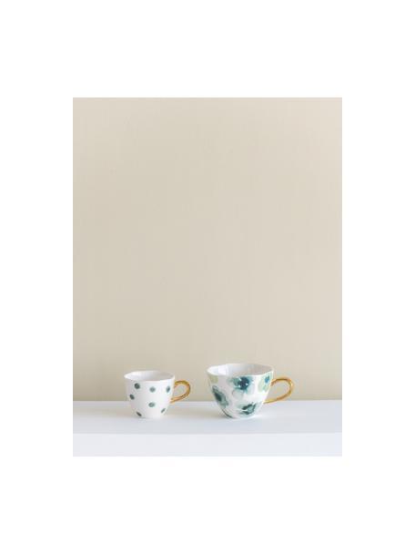 Tazza dipinta con manico dorato Good Morning, New Bone China, Bianco, verde, blu, dorato, Ø 11 x Alt. 8 cm