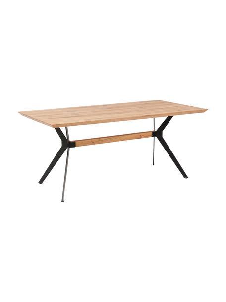Esstisch Downtown mit Massivholzplatte, Tischplatte: Eichenholz, geölt, Beine: Stahl, pulverbeschichtet , Eichenholz, B 180 x T 90 cm