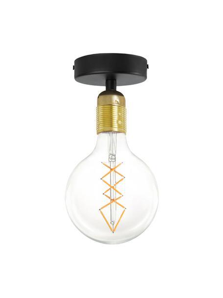 Mała lampa sufitowa Uno, Czarny, mosiądz, Ø 10 x W 10 cm