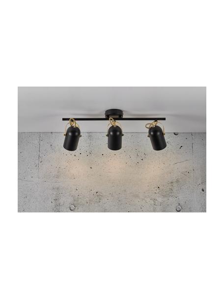 Faretti da soffitto retrò Lotus, Paralume: metallo rivestito, Decorazione: metallo rivestito, Baldacchino: metallo rivestito, Nero ottonato, Larg. 58 x Alt. 20 cm