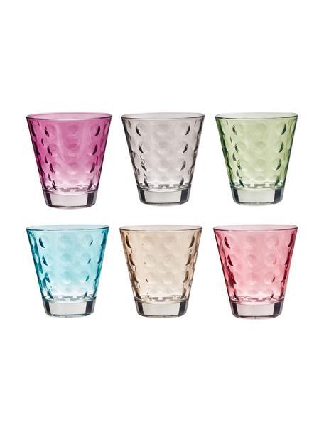 Vasos de colores con relive Gunnar, 6uds., Vidrio, Multicolor, Ø 9 x Al 9 cm