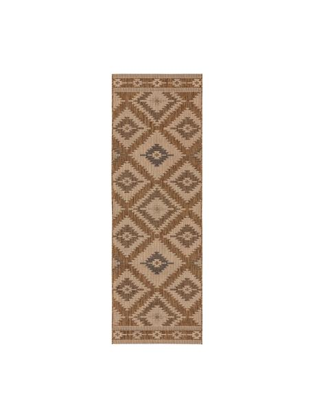 In- & outdoor loper Riso met ethnopatroon, 100% polypropyleen, Bruin, beige, 80 x 240 cm