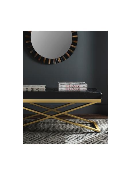 Kunstleren zitbank Susan  in krokodillenleerlook, Frame: gelakt edelstaal, Bekleding: kunstleer met krokodillen, Frame: goudkleurig. Zitvlak: zwart, krokodillenleer-look, B 109 cm