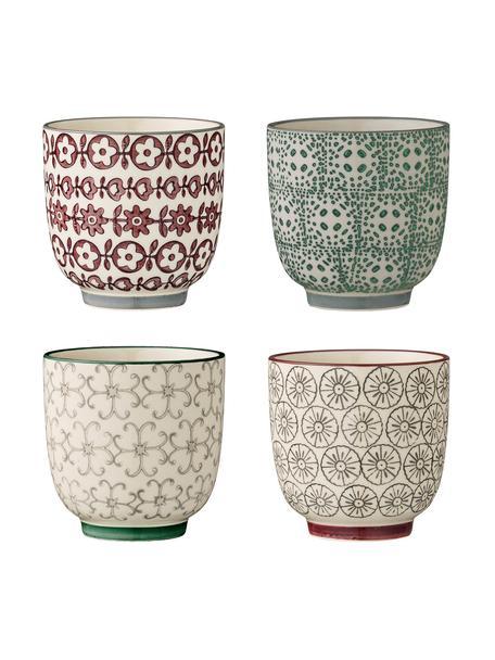 Set 4 tazze senza manico con motivo piccolo Karine, Ceramica, Multicolore, Ø 7 x Alt. 7 cm
