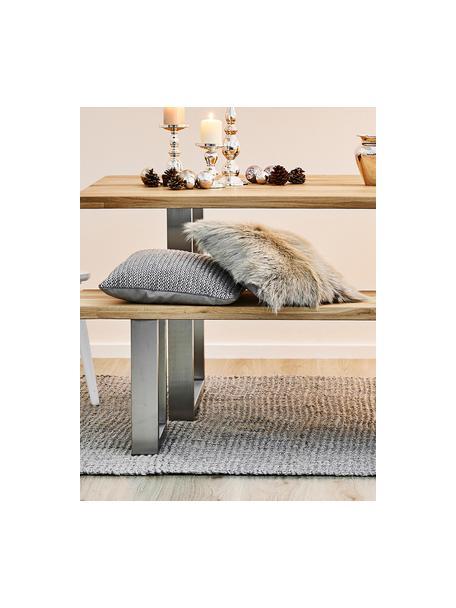 Sitzbank Oliver aus Eichenholz, Sitzfläche: Wildeichenlamellen, massi, Beine: Metall, lackiert, Wildeiche, Edelstahl, 200 x 45 cm