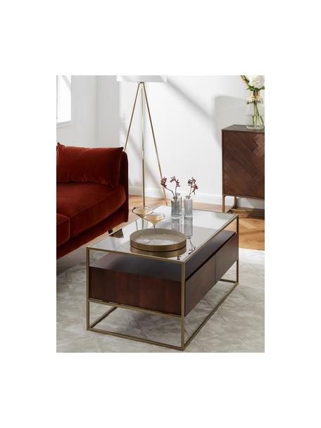 Couchtisch Theodor mit Schubladen, Tischplatte: Glas, Gestell: Metall, pulverbeschichtet, Mangoholz, 100 x 45 cm