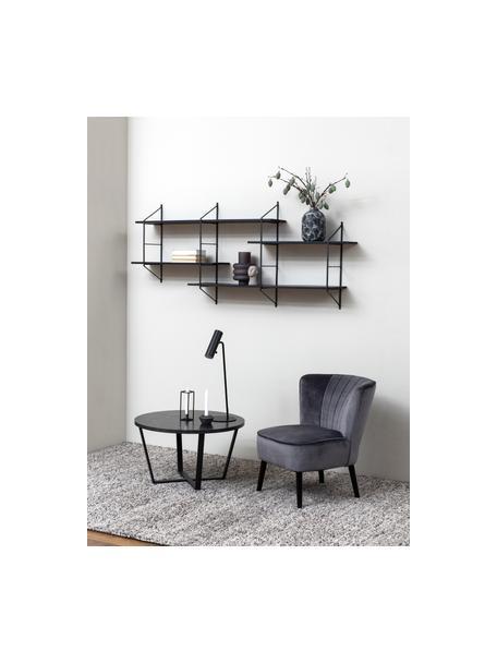 Libreria da parete in legno e metallo Belfast, Struttura: metallo verniciato a polv, Mensole: legno di paulownia, tinto, Nero, Larg. 191 x Alt. 79 cm