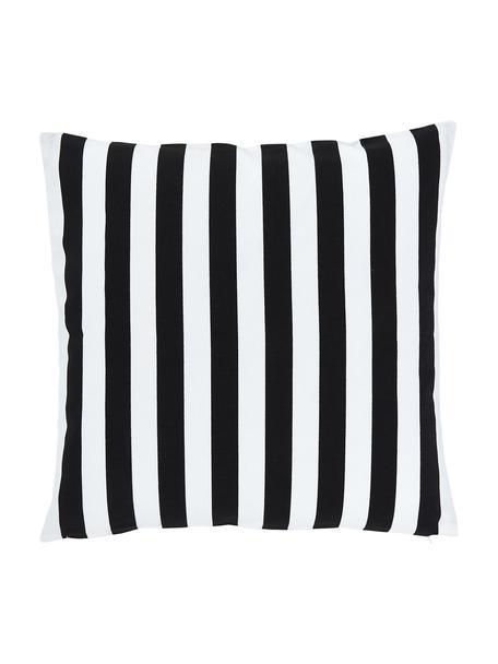 Gestreifte Kissenhülle Timon in Schwarz/Weiß, 100% Baumwolle, Schwarz, Weiß, 50 x 50 cm