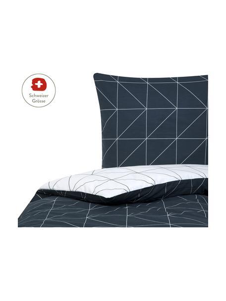 Baumwoll-Wendebettdeckenbezug Marla mit grafischem Muster, Webart: Renforcé Fadendichte 144 , Navyblau, Weiss, 160 x 210 cm