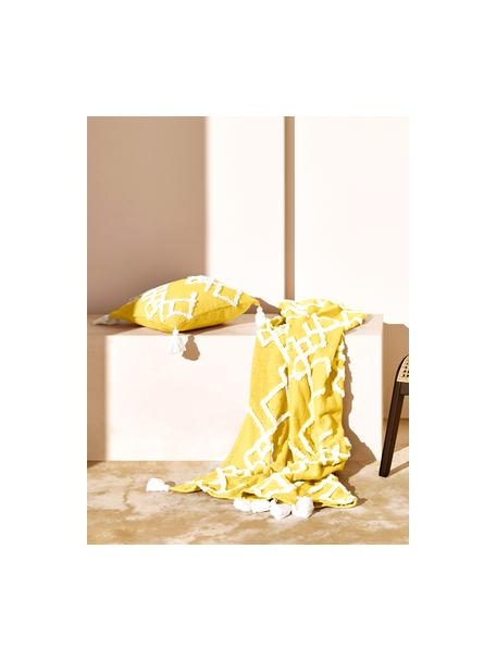 Federa arredo con ornamento Tikki, Cotone, Giallo, Larg. 40 x Lung. 40 cm