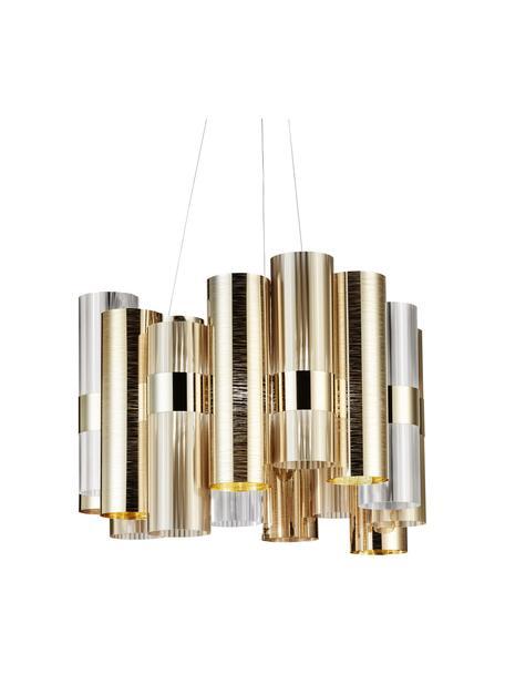 Lampada a sospensione a LED dimmerabile La Lollo, Paralume: Lentiflex - Goldflex, Baldacchino: metallo, Dorato, Ø 48 x Alt. 35 cm