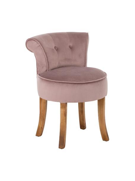 Fluwelen kruk Alison, Bekleding: katoenfluweel, Frame: hout, Poten: gelakt berkenhout, Bekleding: roze. Poten: donker hout, 48 x 65 cm