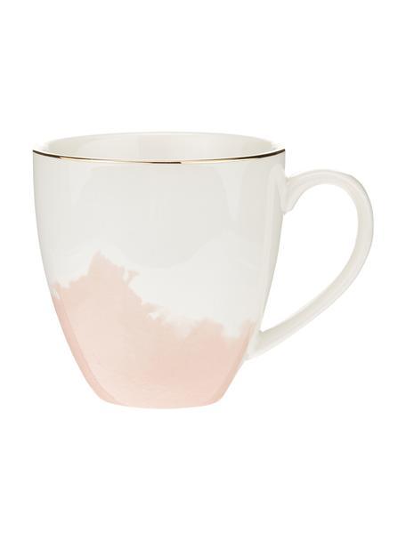 Porzellan Kaffeetasse Rosie mit abstraktem Muster und goldfarbenem Rand, 2 Stück, Porzellan, Weiß,Rosa, Ø 12 x H 9 cm