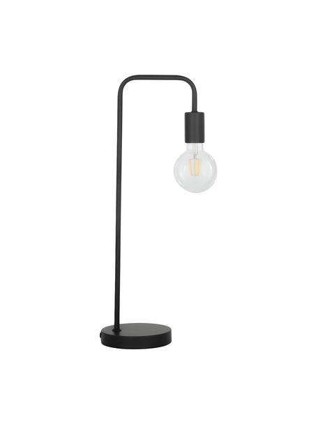 Lámpara de escritorio grande de metal Flow, Estructura: metal con pintura en polv, Cable: cubierto en tela, Negro, An 22 x Al 56 cm