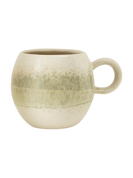 Handgemaakt kopje Paula met effectief glazuur, Keramiek, Groen, beige, Ø 9 x H 8 cm