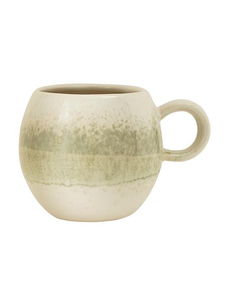 Taza artesanal Paula, Gres, Verde, beige, Ø 9 x Al 8 cm