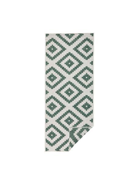 Dubbelzijdige in- & outdoor loper Malta, Groen, crèmekleurig, 80 x 250 cm