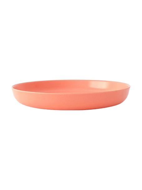 Ontbijtborden Bambino, 2 stuks, Bamboehoutvezels, melamine, voedselveilig BPA-, PVC- en ftalatenvrij, Koraalrood, Ø 18 x H 3 cm