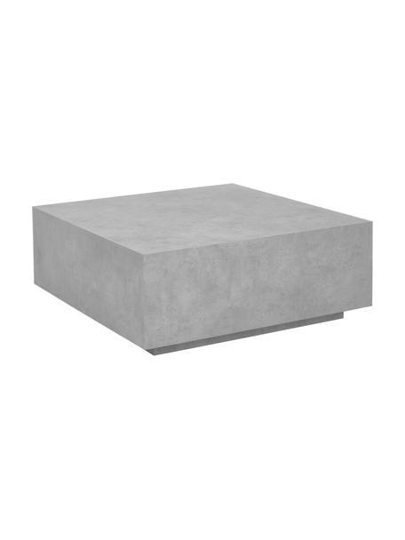 Zwevende salontafel Lesley in betonlook, MDF bekleed met mmelaminefolie, massief mangohout, Grijs, 90 x 35 cm