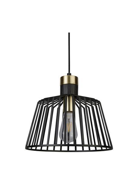 Pendelleuchte Bird Cage in Schwarz-Gold, Lampenschirm: Metall, beschichtet, Dekor: Metall, beschichtet, Baldachin: Metall, beschichtet, Schwarz, Goldfarben, Ø 30 x H 27 cm