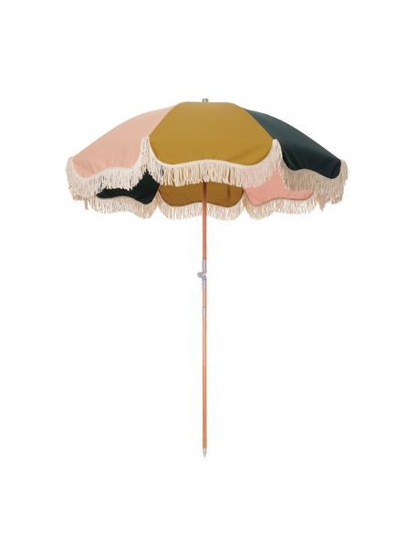 Ombrellone piegabile colorato con frange Retro, Struttura: legno laminato, Rivestimento: poliestere, Frange: cotone, Giallo senape, rosa, bianco, nero, Ø 180 x Alt. 230 cm