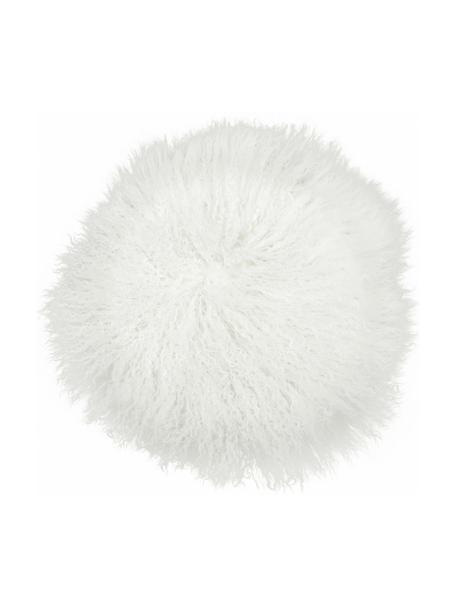 Okrągła nakładka na krzesło ze skóry jagnięcej o długim włosiu Ella, Naturalny biały, Ø 37 cm