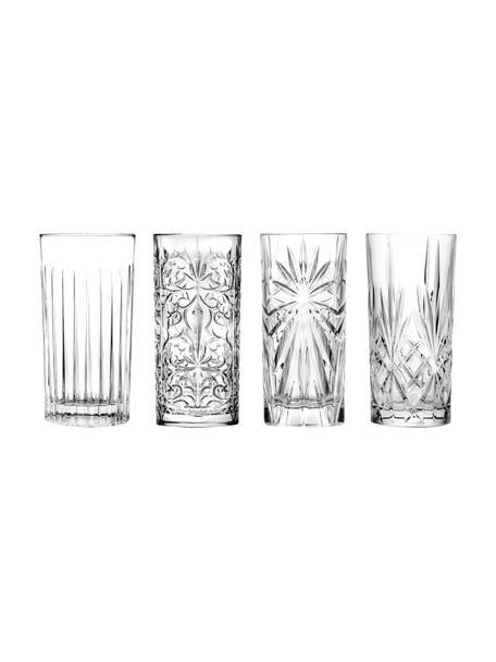 Longdrinkglazen Bichiera met reliëf, 4 stuks, Kristalglas, Transparant, Ø 8 x H 15 cm