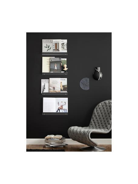 Ripiano grigio scuro opaco Shelfini, Asta: metallo verniciato, Grigio scuro, ottone, Larg. 50 x Alt. 6 cm
