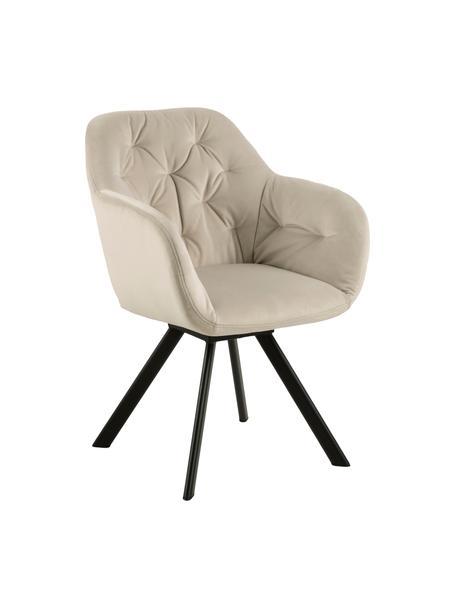 Krzesło z podłokietnikami z aksamitu Lola, Tapicerka: aksamit poliestrowy Dzięk, Nogi: metal lakierowany, Beżowy, S 58 x G 62 cm