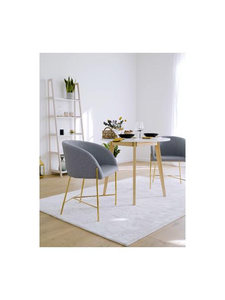 Gestoffeerde stoel Nelson met armleuningen, Bekleding: polyester De bekleding is, Poten: verchroomd metaal, Geweven stof lichtgrijs, poten goudkleurig, B 56 x D 54 cm