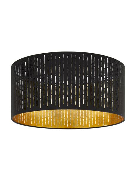 Plafondlamp Varillas in zwart-goudkleur, Lampenkap: textiel, kunststof, Zwart, goudkleurig, Ø 48 x H 22 cm