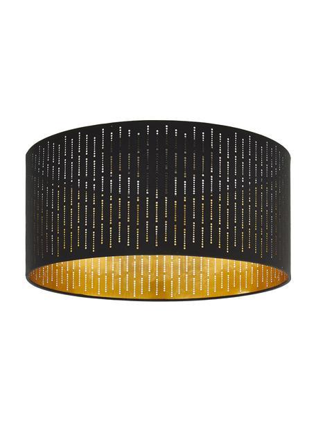 Plafoniera nera-dorata Varillas, Paralume: tessuto materiale sinteti, Nero, dorato, Ø 48 x Alt. 22 cm