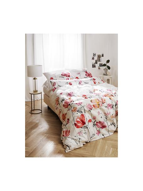 Baumwollsatin-Bettwäsche Fiori mit Blumen-Muster, Webart: Satin Fadendichte 200 TC,, Weiß, Rosa, Schwarz, 135 x 200 cm + 1 Kissen 80 x 80 cm