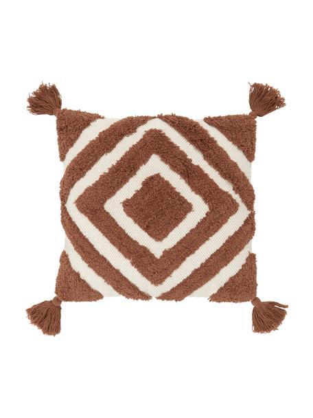 Poszewka na poduszkę Karina, 100% bawełna, Biały, brązowy, S 45 x D 45 cm