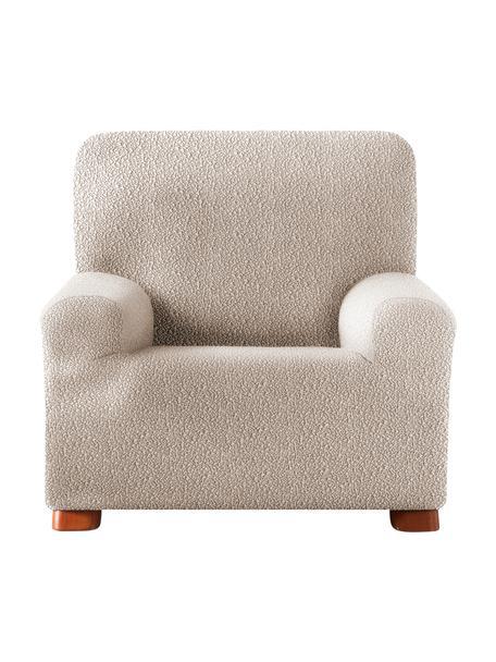 Funda de sillón Roc, 55%poliéster, 35%algodón, 10%elastómero, Crema, An 130 x Al 120 cm