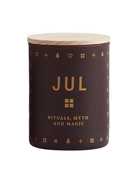 Duftkerze Jul (Lebkuchen, Honig & Nelken), Behälter: Glas, Deckel: Buchenholz, Burgunderrot Deckel: Buchenholz, Ø 4 x H 6 cm