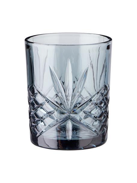 Vasos de cristal con relive Crystal Club, 4uds., Vidrio, Gris, Ø 8 x Al 10 cm