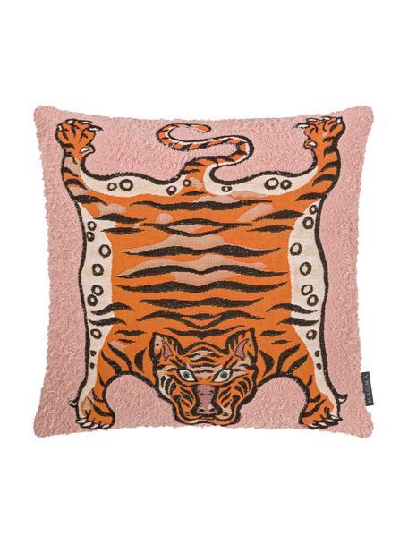 Kussenhoes Tigris met tijger motief, Weeftechniek: jacquard, Roze, oranje, zwart, 45 x 45 cm