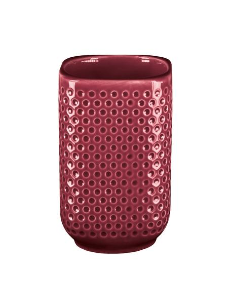Kubek na szczoteczki z kamionki Mila, Kamionka, Burgundowy czerwony, Ø 8 x W 11 cm