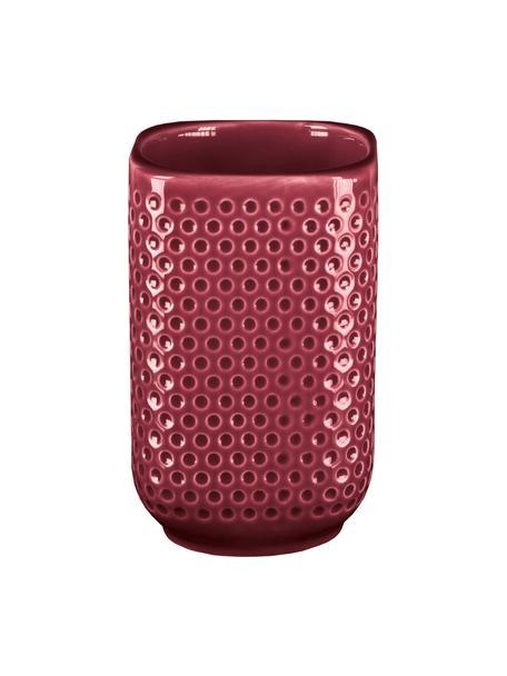 Vaso cepillo de dientes de gres Mila, Gres, Rojo, Ø 8 x Al 11 cm